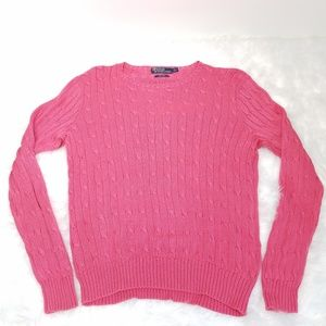 Polo Ralph Lauren Pink Cotton Cable Knit Sweater